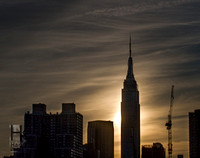 Sunset behind the Empire State Building